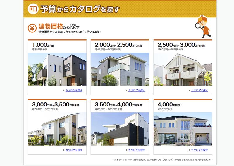 LIFULL HOME'Sでは、1000万円代〜から高いものでは4000万円以上という超豪邸まで、幅広くハウスメーカーのカタログを扱っています。