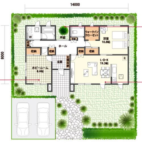 平屋住宅の間取り事例⑩ クレバリーホームの平屋:「プチ世田谷ベース」としても使える趣味の空間がある大人の平屋