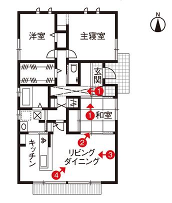平屋住宅の間取り事例⑮ ダイワハウスの平屋:3人暮らし。玄関からリビング、和室までひとつながりになる鉄骨造りの3LDK(28.7坪)