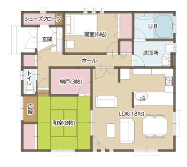 平屋住宅の間取り事例⑤富士住建の平屋:2LDK・出入り口が2つある和室で動線をスムーズに