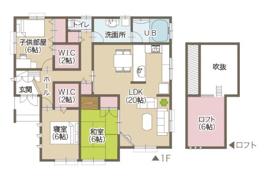 平屋住宅の間取り事例⑥富士住建の平屋:3LDK・大きなリビングと吹き抜け+ロフトに家族全員が集まる家
