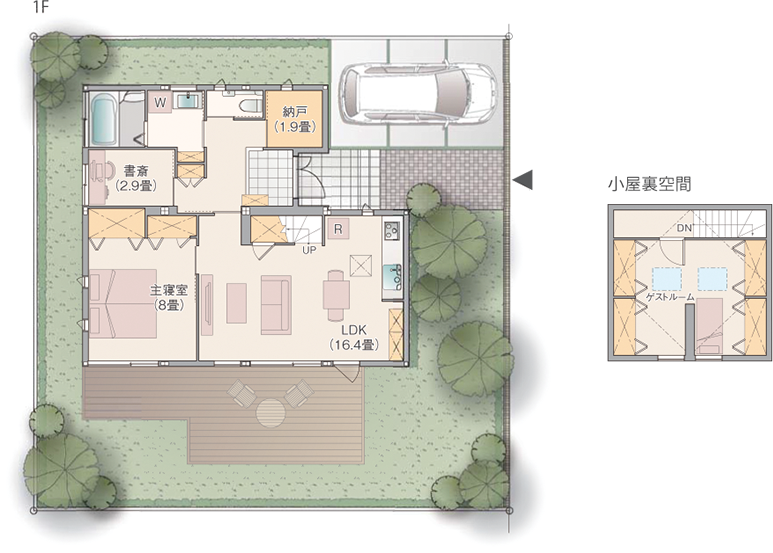 平屋住宅の間取り事例②セキスイハイムの平屋:大人の夫婦におすすめの1LDK+書斎+小屋根裏