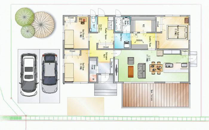 平屋住宅の間取り事例⑬ 一条工務店の平屋:収納スペースを効果的に配置したラク家事間取り3LDK