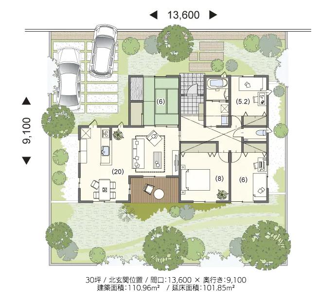 平屋住宅の間取り事例⑨ミサワホームの平屋:北玄関にして南向きの部屋を増やした明るく開放的な間取り