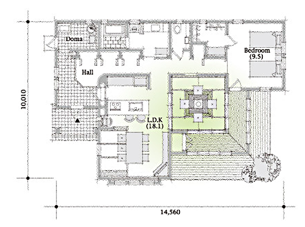 平屋住宅の間取り事例⑪ 三井ホームの平屋:囲炉裏と土間のあるスローライフのための和風平屋2LDK(30坪)