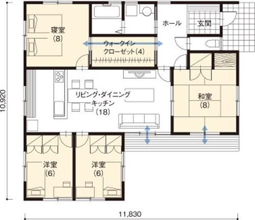 平屋住宅の間取り事例⑭ 住友林業の平屋:すべての部屋に窓が2つ。心地よい風が通る4LDK(31坪)