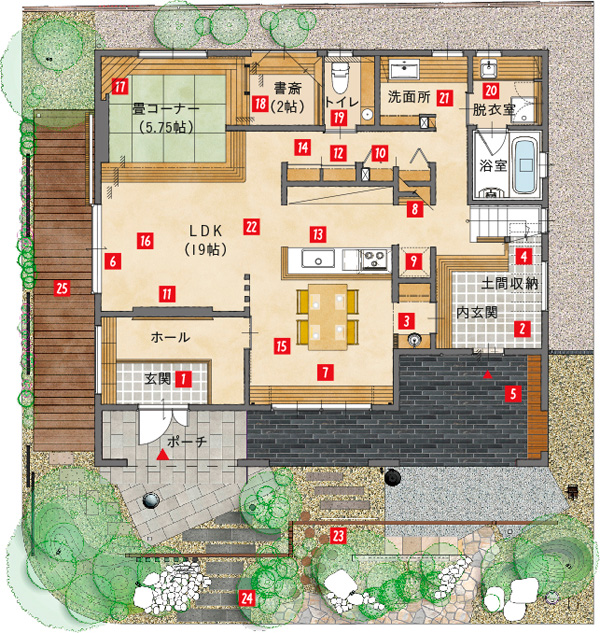アイムの家/スタディスペースあり、LDKとタタミルームが連結した間取り