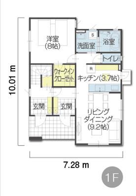 完全分離タイプのルーフバルコニー付き3階建て二世帯住宅の間取り