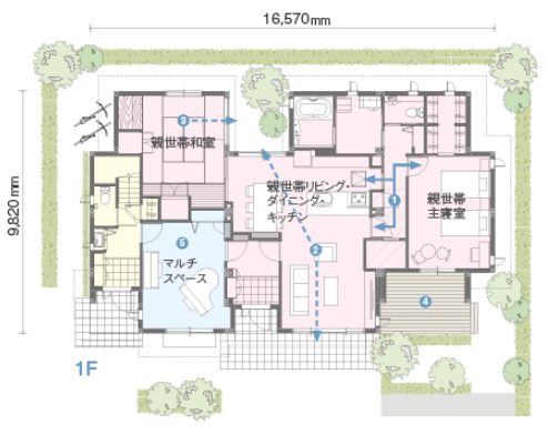 60坪の二世帯住宅間取り③親世帯+夫婦+子ども一人家庭のゆったり暮らす独立タイプ【トヨタホーム】