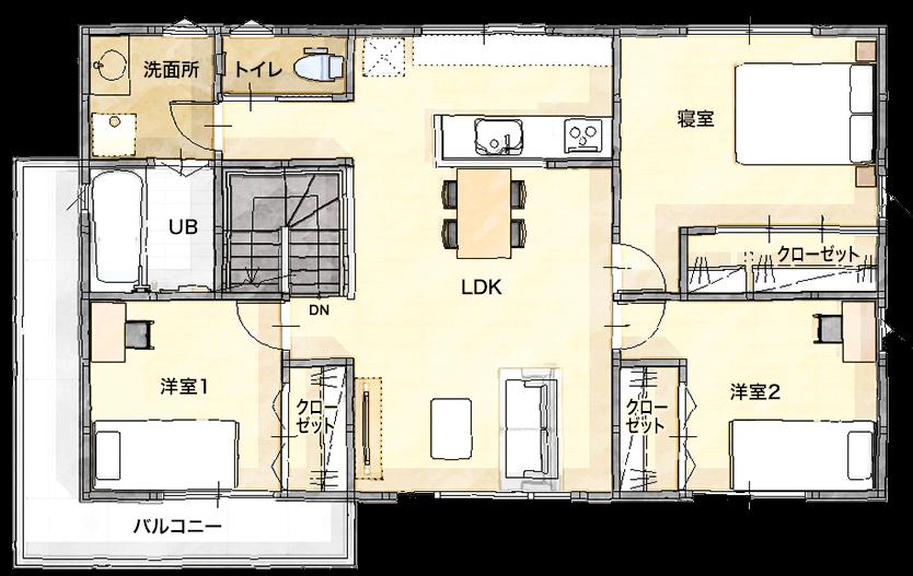 ローコストの二世帯住宅間取りプラン③オーソドックスな完全分離型【ユニバーサルホーム】