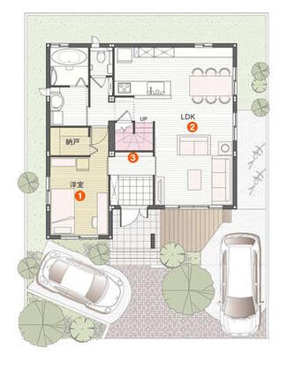 30坪の二世帯住宅間取り②親一人・夫婦+子ども一人のコンパクトな2階建て【セキスイハイム】