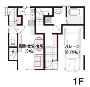 30坪の二世帯住宅間取り③ビルドインガレージ付き完全別離タイプの3階建て【ミサワホーム】