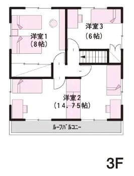 50坪の二世帯住宅間取り④四角くシンプルにまとめた3階建ての同一建物内独立タイプ【ミサワホーム】