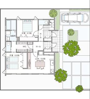 ローコストの二世帯住宅間取りプラン⑤コンパクトにまとめた完全分離型【アキュラホーム】