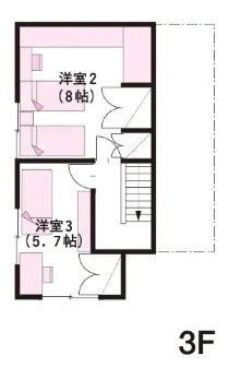 二世帯住宅完全分離型の間取り⑤狭小敷地でもできる3階建て、5人暮らしならOK【ミサワホーム】