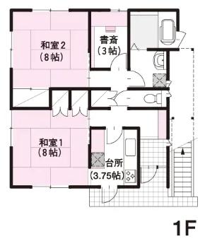 二世帯住宅完全分離型の間取り⑥部屋数たっぷりシンプルな四角い3階建て【ミサワホーム】