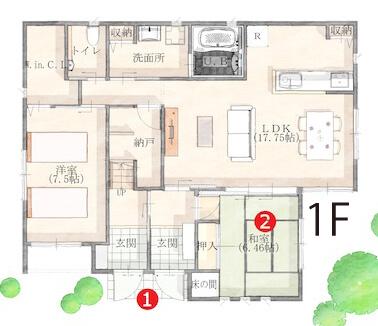 二世帯住宅完全分離型の間取り⑦プライバシーを尊重しつつ世帯間交流もできる2階建て【泉北ホーム】