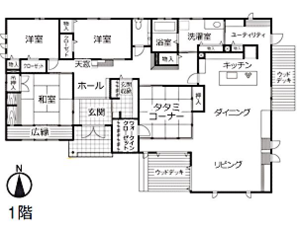 50坪の平屋の間取り①完璧な家事動線と豊富な収納が自慢。夫婦+子ども一人で暮らす平屋【大和ハウス】