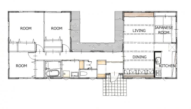 中庭のある平屋の間取り①家の中心に庭がある細長いコの字型の平屋。【大原工務店】