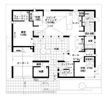 中庭のある平屋の間取り②中庭がカーポートと直結した変形ロの字型【土屋ホーム】