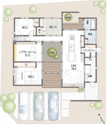 中庭のある平屋の間取り④中庭とウッドデッキを組み合わせたコの字型【勝美住宅】