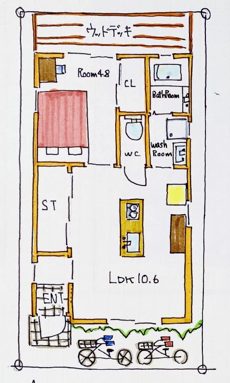 狭小住宅の間取り10坪のスモールハウス①カフェのようなかわいいお家
