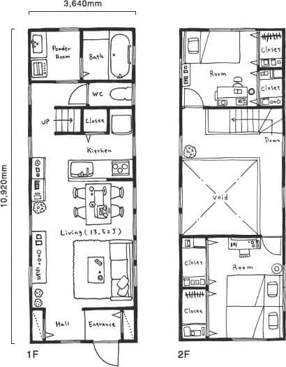 狭小住宅の間取り10坪のスモールハウス⑤ ZERO-CUBE 人気の箱型タイプ【ネクスト】