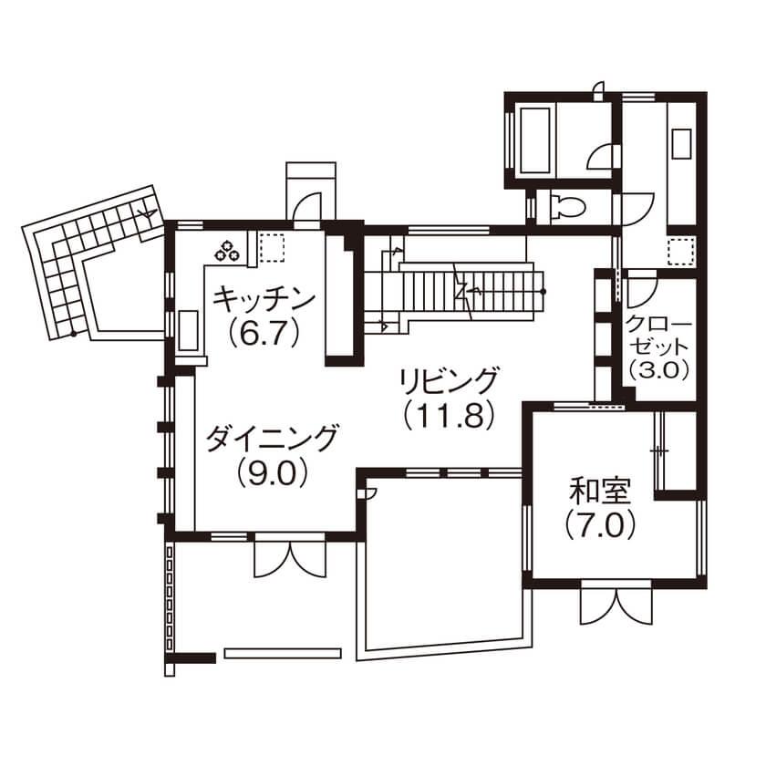 5人家族の間取り①ガレージ、趣味部屋などこだわりを詰め込んだ「実質3階建て」の2階建て