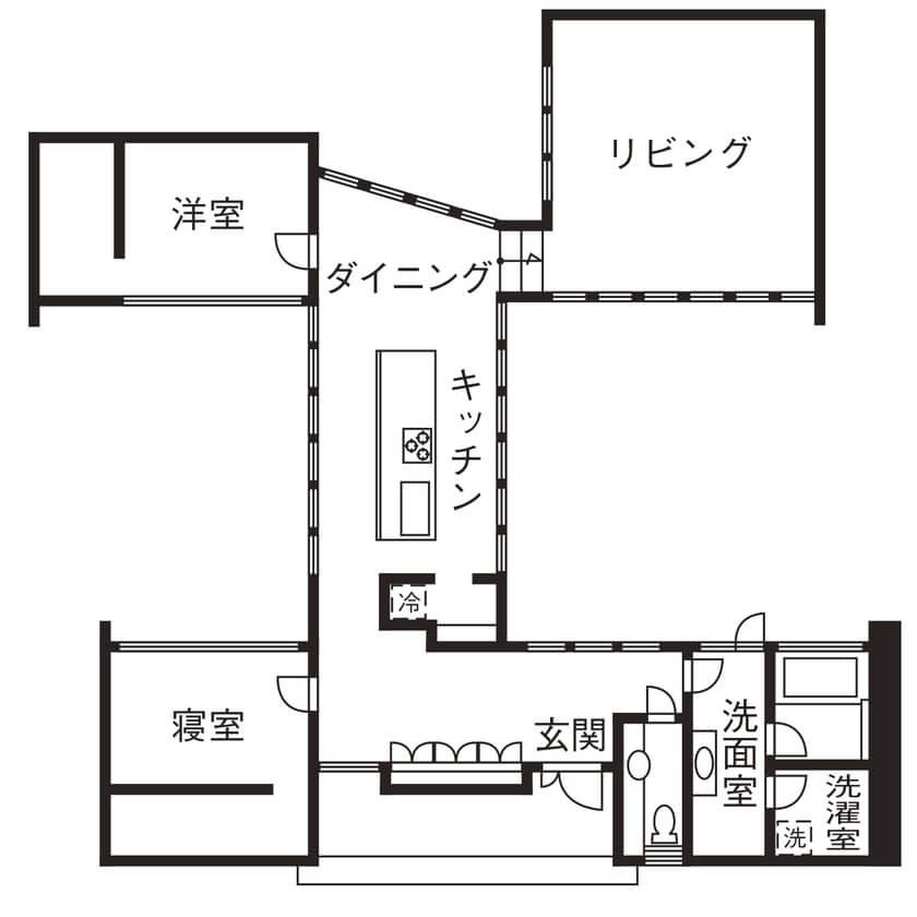 【3000万円の家】平屋/キッチンを中心に部屋がつながるユニークな2LDK【夫婦+子ども1人】