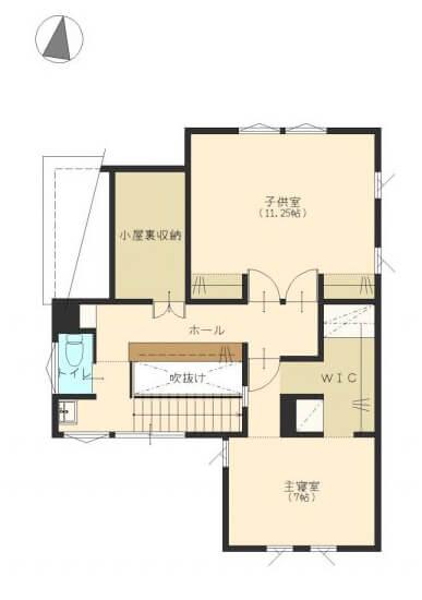 土間のある家の間取り30坪④2つの土間とテラスをつないで活用する冬暖かい家