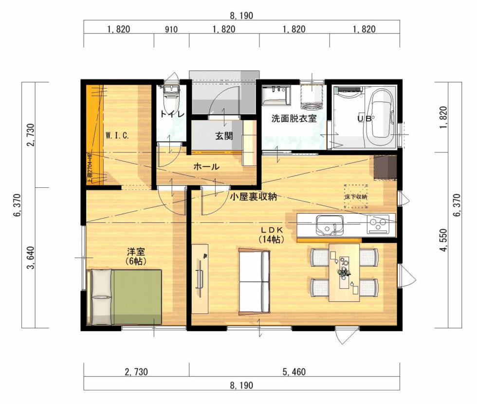 平屋の間取り【15坪】狭小住宅①シンプルな四角い平屋1LDK。独身か二人暮らし用