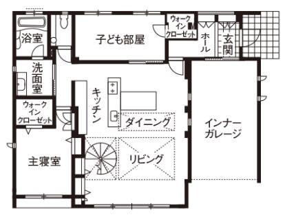 30坪のビルトインガレージ間取り②平屋で5人家族。ガレージを主役にしたコンパクトハウス