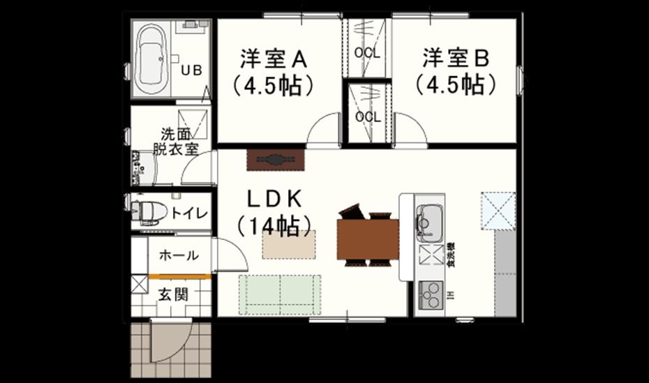平屋の間取り【15坪】狭小住宅②シンプルライフで3人暮らしも可能だが、収納力が心配