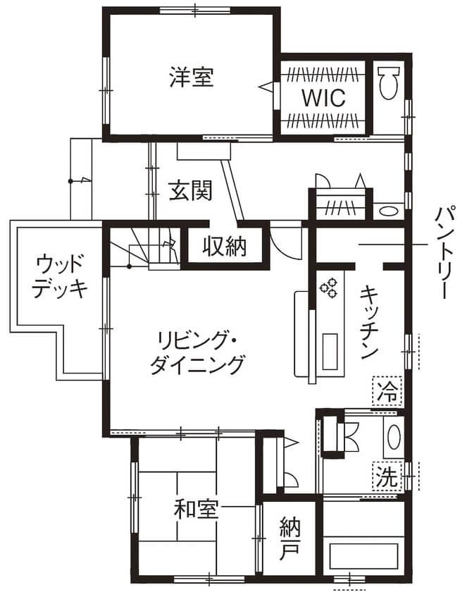 家事動線を考えた間取り【40坪】①吹き抜けで開放的に。室内干し場もある2階建て