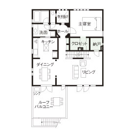 ビルトインガレージのある3階建ての間取り②6人暮らしの二世帯住宅