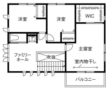広いリビングのある間取り②2階建て/ホームパーティーができる26帖のLDK