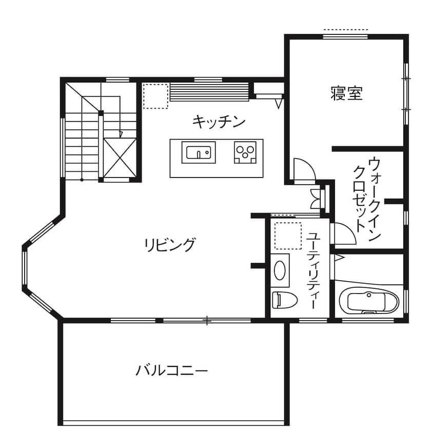 広いリビングのある間取り③2階建て/夫婦のみ世帯の見晴らし最高2階リビング