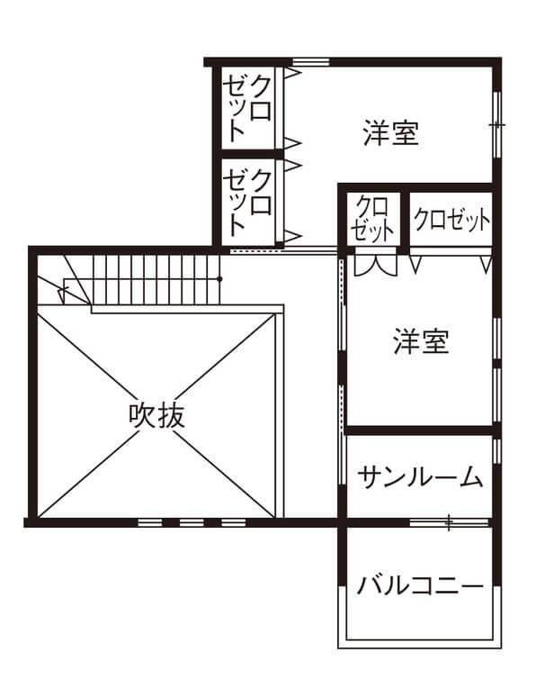 家事動線を考えた間取り【40坪】③随所に楽カジの工夫を備えたサンルーム付きの2階建て