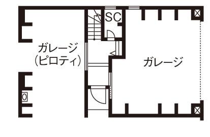ビルトインガレージのある3階建ての間取り④2箇所のガレージで3台分の駐車スペースを確保