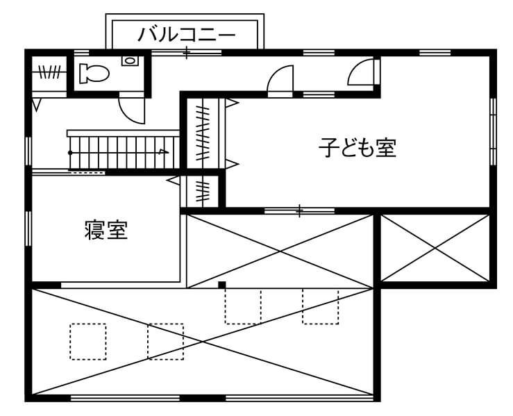 広いリビングのある間取り④2階建て/吹き抜け&ウッドデッキの大開口LDK
