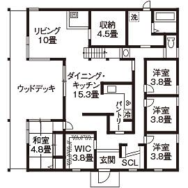 家事動線を考えた間取り【40坪】⑤回遊性を高め、スキップフロアを有効活用した平屋