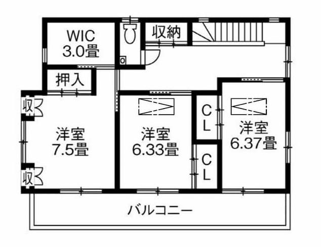40坪〜30坪 南玄関の間取り①日本家屋を建て直した大空間LDKの家