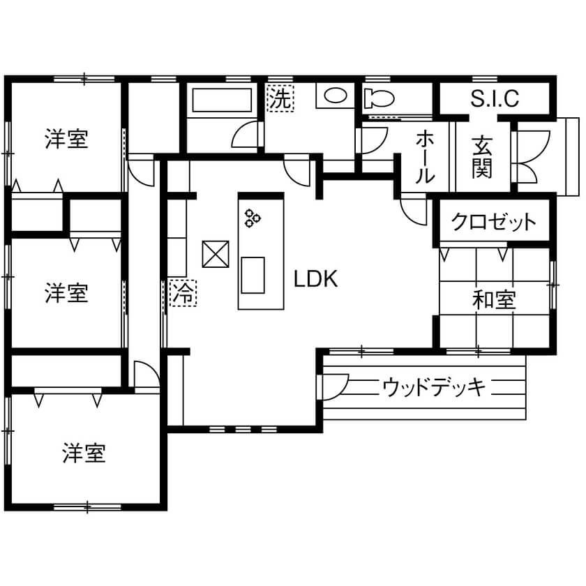 キッチンとダイニングが横並びの間取り①平屋/LDK中心に回遊できるかわいい平屋