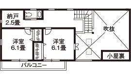 40坪〜30坪 南玄関の間取り②南向きリビングと勾配天井と吹き抜けの開放感