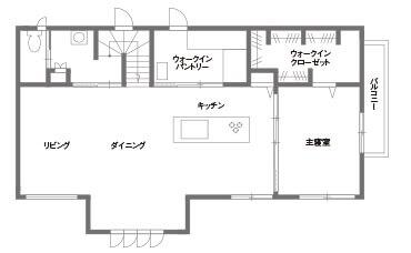 キッチンとダイニングが横並びの間取り②2階建て/大きなワンフロアのLDKで回遊性抜群