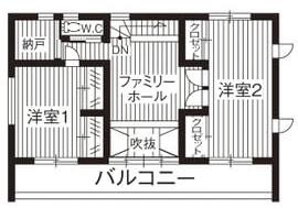 40坪〜30坪 南玄関の間取り④1階をLDKのみにした贅沢2階建て