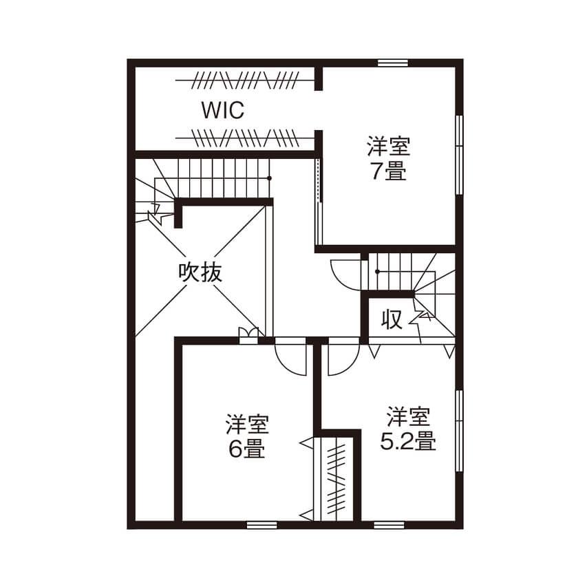 平屋に見える2階建て間取り②土間玄関とウッドデッキが庭につながる開放的サーファーズハウス