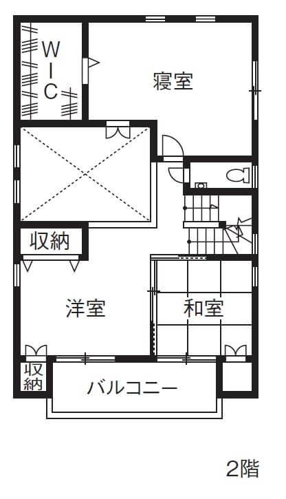 ロフトのある2階建ての間取り③ロフトは潔く収納スペースとして活用