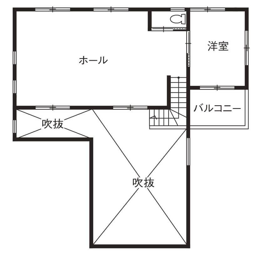 平屋に見える2階建て間取り③中2階を活用した平屋風の家
