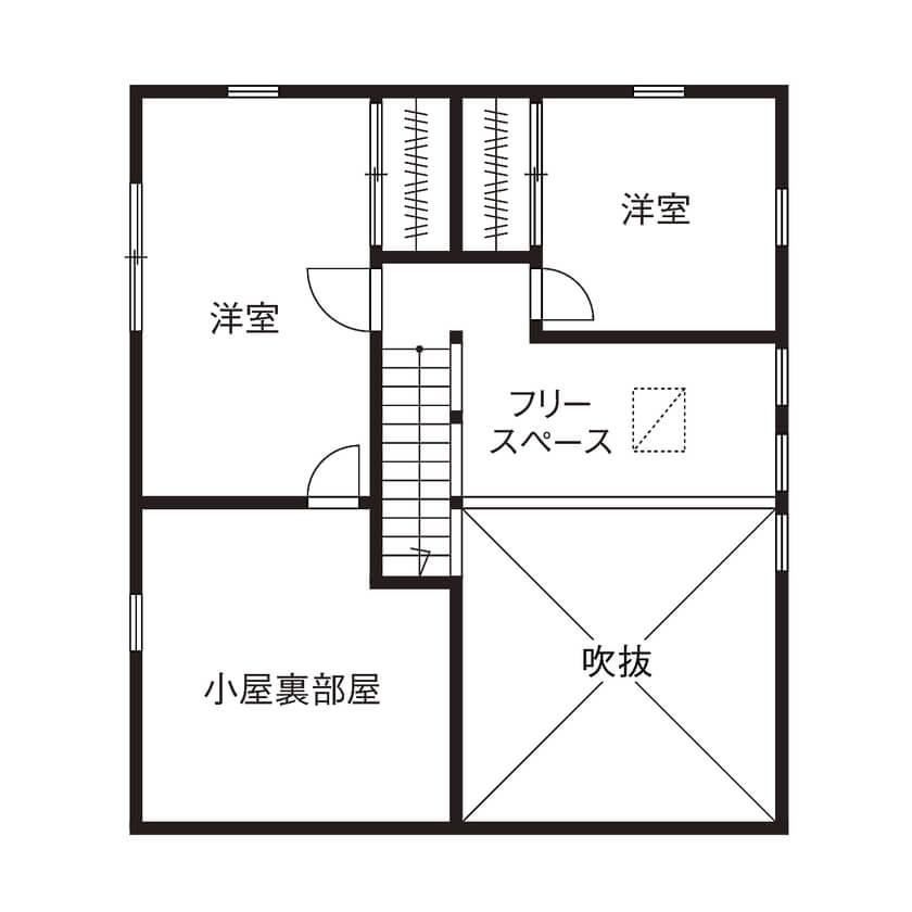平屋に見える2階建て間取り④山小屋のような平屋風2階建て